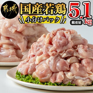 【ふるさと納税】国産若鶏5.1kg 小分けパック!カット済み! - 鶏肉 一...