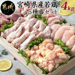宮崎県産若鶏 5種盛4kgセット