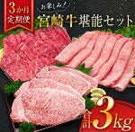 【ふるさと納税】牛肉≪3か月定期便≫お楽しみ!宮崎牛堪能セット(合計3kg)