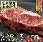 【ふるさと納税】<生産者応援企画>宮崎県産黒毛和牛!1ポンドリブロースステーキ(450g×1P)美味しい牛肉をご家庭で【南郷包装】【AR-AB12】
