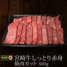 【ふるさと納税】宮崎牛しっとり赤身焼肉カット500gBBQ牛肉バーベキュー新富町送料無料