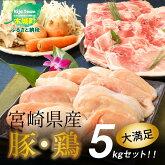 【ふるさと納税】<宮崎県産豚・鶏5kgセット>K16_0015送料無料【宮崎県木城町】