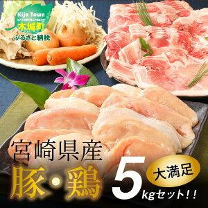 【ふるさと納税】宮崎県産豚・鶏5kgセット 【宮崎県木城町】