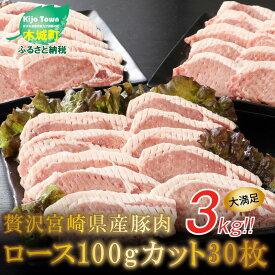 【ふるさと納税】贅沢宮崎県産豚肉ロース100gカット30枚 【宮崎県木城町】