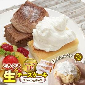 【ふるさと納税】人気の新食感!とろける生チーズケーキ(プレーン&チョコ)+生メロンパン2個