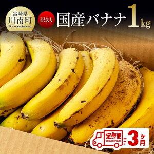 【ふるさと納税】【訳あり】国産バナナ1kg 3ヶ月定期便 ご自宅用や皮ごとスムージーにもオススメ! G5803 送料無料