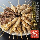 【ふるさと納税】宮崎県産若鶏使用人気部位串焼き45本セット