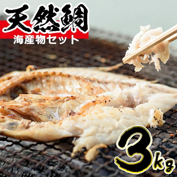 【ふるさと納税】海産物セット 天然鯛!旬の魚の干物セット(総3kg) 獲れたてタイと旬の魚介類♪【吹上町漁協】