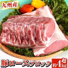 【ふるさと納税】九州産豚肉ロースブロック 約4.0〜4.5kg トンカツやテキカツなど【ナンチク】