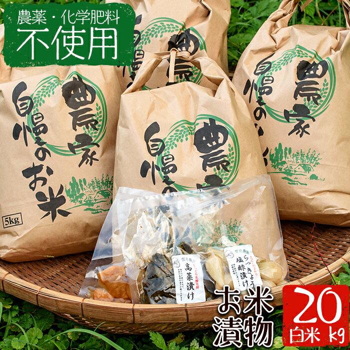 【ふるさと納税】<栽培期間中農薬化学肥料不使用>お米(白米)20kgと漬物セット【雲月農園】