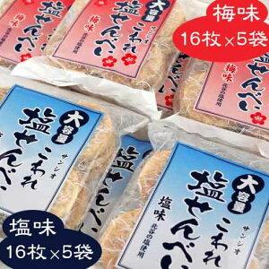 【ふるさと納税】<大容量>こわれ塩せんべい 塩味&梅味(16枚×10袋入り)