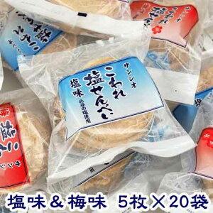 【ふるさと納税】こわれ塩せんべい 塩味&梅味(5枚×20袋入り)
