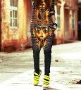 サルエルパンツ ダンス衣装 DANCEファッション HIPHOP系 ストリート系 インパクトあり!ファラオプリントデザインサルエルパンツ ボトム