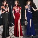 即納 ロングドレス キャバドレス キャバワンピ豪華でエレガントなスパンコール装飾デザイン オシャレなチャイナ風ロングドレス フォーマルドレス パーティードレス