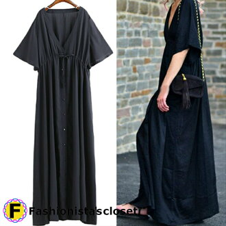 The short-sleeved maxi length dress navy black which is Luc's
