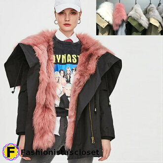 In winter lady's real Fox fur parka removable lining lady's hooded down coat