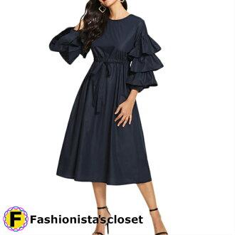 Raffle frill sleeve knee buyers over sleeve dress