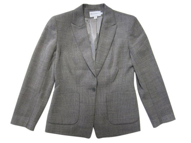 【中古】 ZENOBIA 1つボタン ウール テーラードジャケット 黒×白 Made in CANADA【サイズ:Women's 10】【あす楽対応】【古着 mellow楽天市場店】