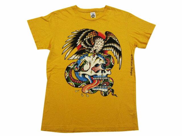 【中古】 Ed Hardy/エドハーディー ラインストーン バトルスカルプリント Tシャツ 黄 Made in U.S.A 【サイズ:S】【スワロ】【ドクロ】【あす楽対応】【古着 mellow楽天市場店】