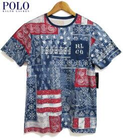 【ゆうパケット対応】【新品】POLO RALPH LAUREN/ラルフローレン バンダナ パッチワークプリント 半袖 ポケット Tシャツ 紺×赤×白 サイズ:Boy's S , Boy's M , Boy's L , Boy's XL BANDANNA COTTON POCKET TEE 総柄 ポケT 【あす楽対応】【古着屋mellow楽天市場店】