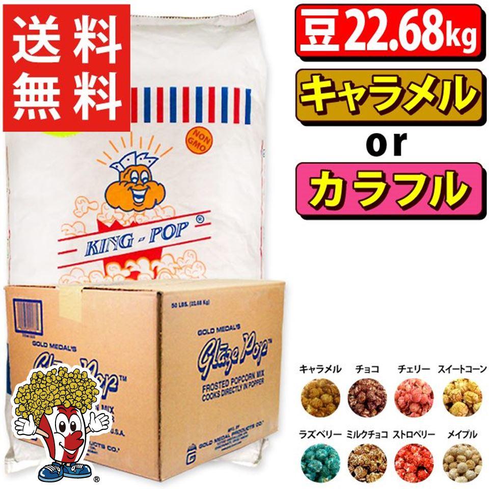 送料無料 KINGマッシュルーム豆22.68kg + キャラメルフレーバー or 選べるカラフルフレーバー22.7kgセット 業務用 シュガー