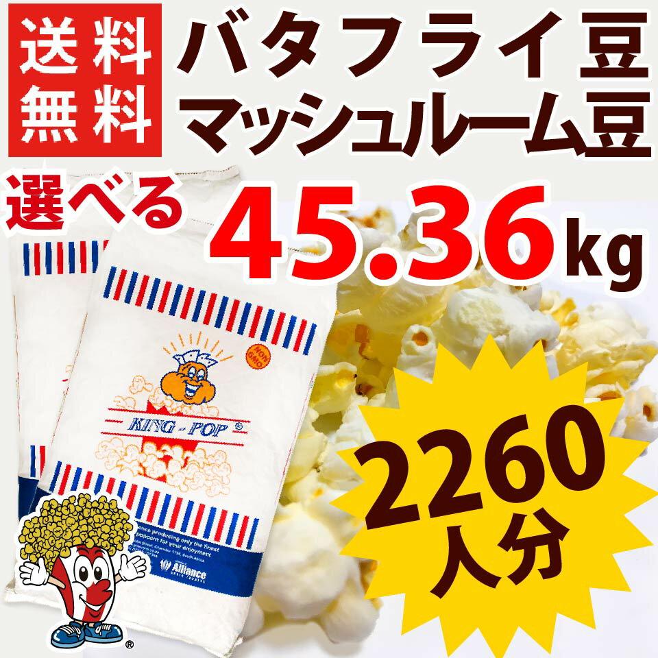 全国送料無料 ポップコーン豆バタフライタイプ 45.36kg ( 22.68kg ×2袋 ) ( 約2260人分 ) KING