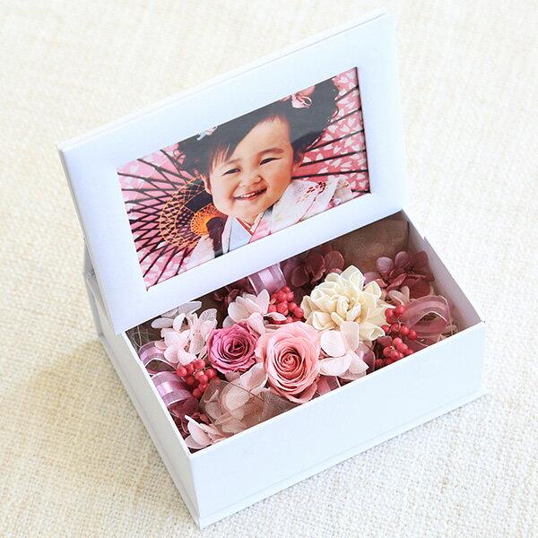[母の日 ギフト]お子さんの写真を無料でセットして贈れます!思い出を届けるフォトフレーム プリザーブドフラワーギフト 母の日 花 フラワー ボックス インテリア雑貨