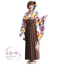 [往復送料無料][卒業式 袴]モノトーンの着物地にカラフルな花柄が散りばめられた袴 MIH326【160cm~170cm】fy16REN07