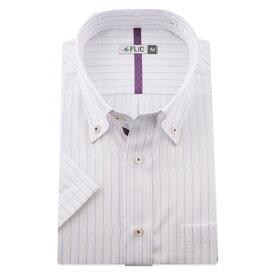 ワイシャツ メンズ ボタンダウン 半袖 形態安定 快適 爽やか シャツ ビジネス スリム 制服 yシャツ ドビー 織柄 ストライプ 白 大きいサイズ カッターシャツ おしゃれ シンプル ssb758
