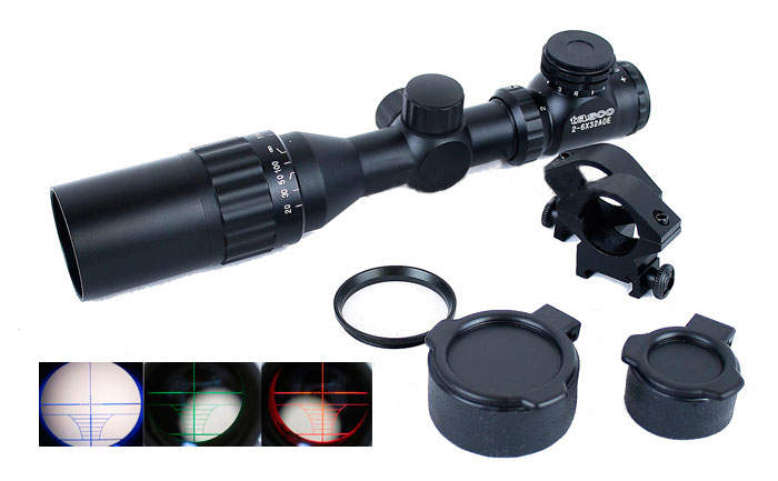 ノーブランド:光学機器 スコープ 2-6X32AOE イルミネーション マウントリング付スナイパーライフル