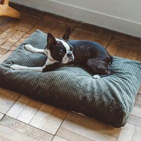 【犬 ベッド】コーデュロイ スクエア ベッド M サイズ犬・猫ベッド ペット用ベッド ラウンド型ベッド カーキ bed 洗える リネン ふかふか 国産