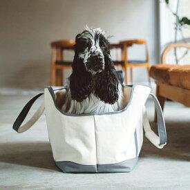 【犬 キャリー】スクエア トート キャンバス ツートン LL サイズキャリーバッグ/メッシュ蓋付きで軽量/ショルダー ペットキャリー お散歩バッグ 多頭 犬 キャリーバック
