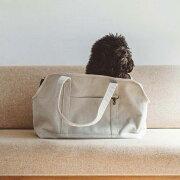 スクエアトートリネンソリッドLサイズ犬お出かけに便利なスクエアタイプのトートバッグ犬用バッグキャリーバッグ犬鞄おしゃれシンプル日本製