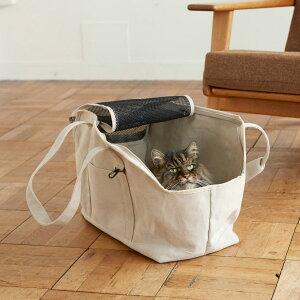 【猫 キャリー】スクエア トート リネン ソリッド Lサイズキャリー バッグ かばん キャリーバッグ ケース クレート ネコ 猫 猫用 ねこ 病院 通院 シンプル 人気 おしゃれ