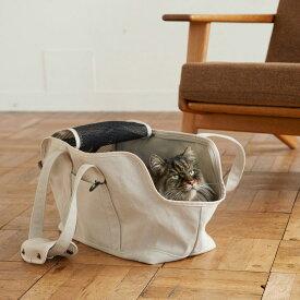 スクエア トート リネン ソリッド Mサイズ 猫用キャリー ネコ 猫 病院 シンプル 人気 おしゃれ 日本製 かばん