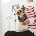 スクエアトートリネンツートンSサイズ犬お出かけに便利なスクエアタイプのトートバッグ犬用バッグキャリーバッグ犬鞄おしゃれシンプル日本製