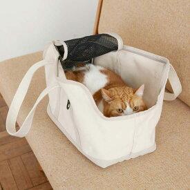 スクエア トート リネン ツートン Mサイズ 猫用キャリー ネコ 猫 病院 シンプル 人気 おしゃれ 日本製 かばん
