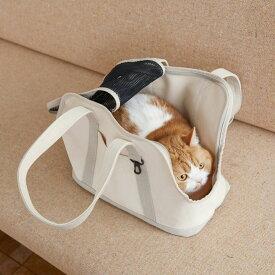 スクエア トート リネン ツートン Sサイズ 猫用キャリー ネコ 猫 病院 シンプル 人気 おしゃれ 日本製 かばん