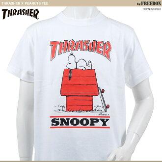 THRASHER×PEANUTS T恤/史努比/协作/MAG LOGO T-SHIRT/surassha t衬衫/人街道/