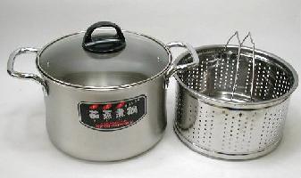茹蒸煮鍋(ゆむになべ)茹でる蒸す煮る多機能自慢超深型両手鍋20cm【あす楽対応】