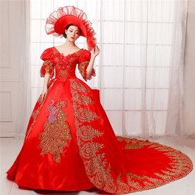 【送料無料】貴族ドレス ロングドレス 演奏会 舞台衣装 ドレス お姫様 カラードレス ステージ衣装 ロングドレス 演奏会 中世 ドレス オペラ声楽 ステージドレス レッドda341c0/代引き不可