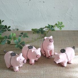 @【SALE 26%OFF!】【小型宅配便OK】 アニマル ミニオブジェ ピンクのブタ 4種セット SPICE スパイス FWGF1118 陶器製 ピッグ PIG ガーデニング ディスプレイ オブジェ インテリア 雑貨 飾り オーナメント