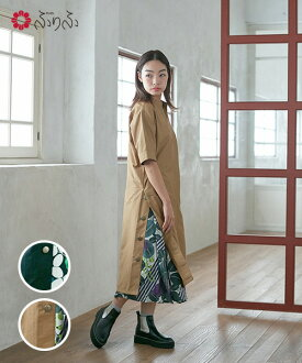 Stand collar shirt dress tight silhouette set bush clover casual clothes Japanese style floral design retro modishness furifu with the side button OP ふりふ original sum pattern dress individual adult Lady's dress long dress long shot length skirt with the