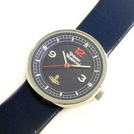 ヴィヴィアンウエストウッド 腕時計 時計 ネイビー 土星 VV020DBL クオーツ 電池式 QZ 3針 ロゴ Vivienne Westwood | 丸型 レザー ベルト ビジネス 薄型 レディース 女性 プレゼント 中古 美品 ヴィヴィアン ブランド 定番 人気 本物 鑑定済み