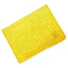 ルイ ヴィトン パスケース エピ M63209 ポルト2 カルト ヴェルティカル イエロー 黄色 中古 カーフ レザー LOUIS VUITTON | ビジネス カードケース 証明書ケース 本革 定番 人気 定期入れ 通勤 通学 コンパクト 薄型 LV ブランド 本物 鑑定済み