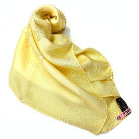 ルイ ヴィトン スカーフ モノグラム イエロー 黄色 シルク 100% クリーニング済み 美品 中古 箱有 LV LOUIS VUITTON | レディース 正方形 大判 モノグラムフラワー ロゴ 総柄 プレゼント 高級 ピュアシルク 小物 アパレル アクセサリー 本物 鑑定済み