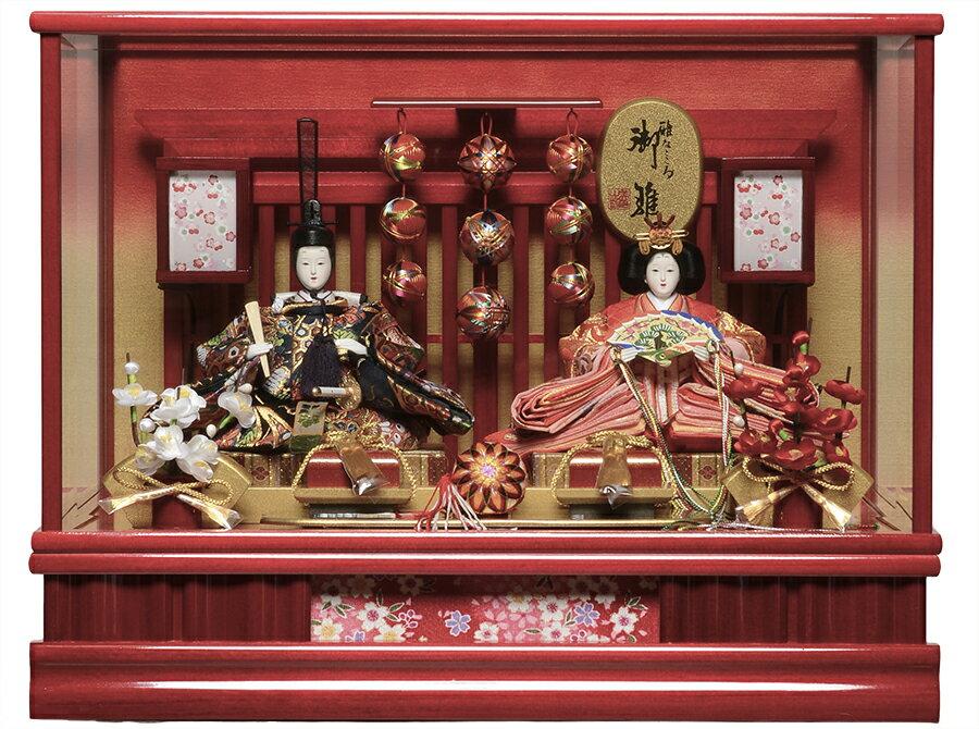 【ひなケース】手毬飾付:芥子親王飾:伏見屋監修 「オルゴール付きカットガラスケース」【雛人形】【ひな人形】