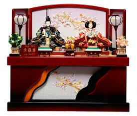 【雛人形収納飾】京三五親王:ほのか雛(桐ワインレッド):平安翠泉作【雛人形】【親王飾】