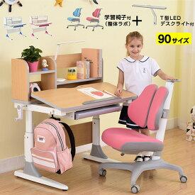 学習机 勉強机 NEWヒーロー90(学習椅子整体ラボ+T型デスクライト付き)-GKI 幅90cm シンプル 角度調整 高さ調整 姿勢 背筋 上棚 90