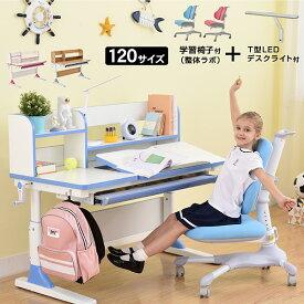 学習机 勉強机 NEWヒーロー120(学習椅子整体ラボ+T型デスクライト付き)-GKA 幅120cm シンプル 角度 調整 高さ調整 姿勢 背筋 上棚 120